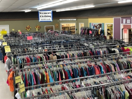 Clothing racks at Hillcrest Clearance Outlet